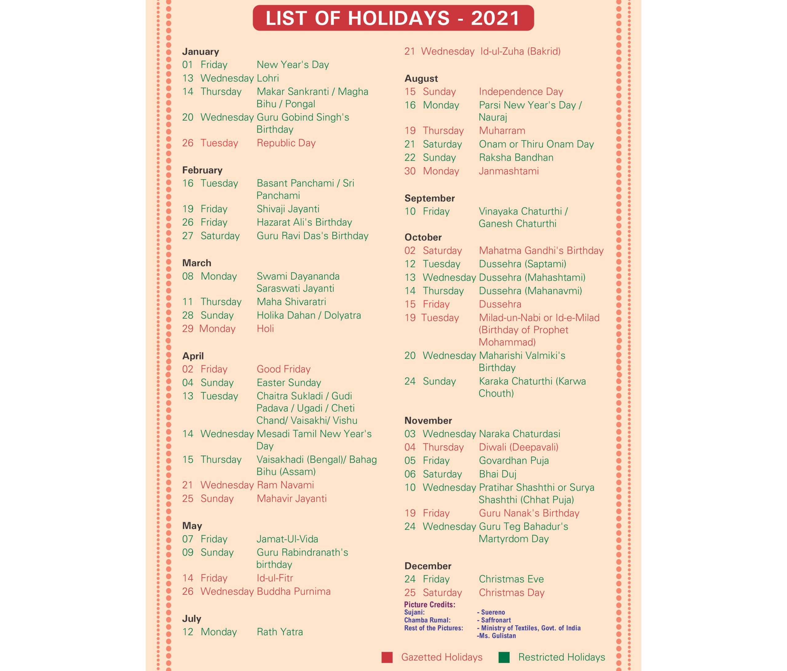 India Post Holiday Calendar 2021